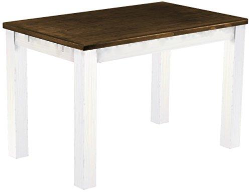 Brasilmöbel Esstisch \'Rio Classico\' 120 x 73 x 77 cm, Pinie Massivholz, Farbton Eiche antik - Weiß