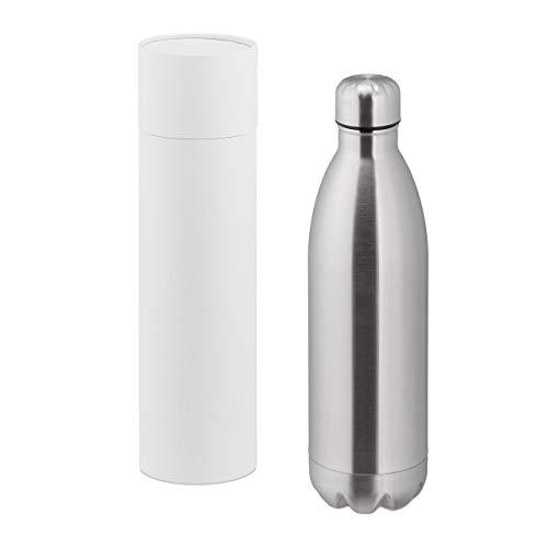 Relaxdays Thermo Trinkflasche, doppelwandige Vakuum Isolierflasche, 1 Liter, unterwegs, Edelstahl, auslaufsicher, silber