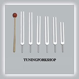 TFS Tuningforkshop 6 Pc Solfeggio Tuning Fork Including 528 hz with Mallet & Pouch