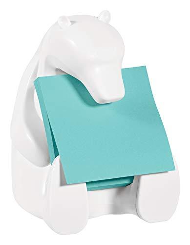Post-it BEAR-330 - Dispensador, diseño Oso polar, 1 bloc de Z-Notas Post-it Super Sticky de 76 x 76 mm