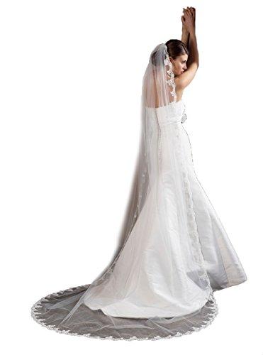 Unbekannt Schleier 280 cm Brautschleier 1 Lage Feintüll Kamm Perlen Hochzeit Braut Kapelle (Ivory)