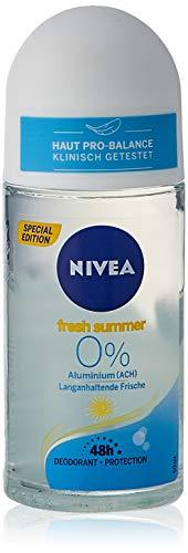NIVEA Deo Roll On Fresh Summer (50 ml), Deo ohne Aluminium (ACH) mit 48h Deo-Schutz, sommerliches Deodorant für langanhaltende Frische