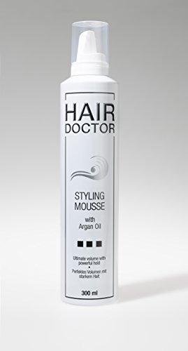 HAIR DOCTOR Styling Mousse strong Professioneller Schaumfestiger Haarfestiger Föhnschaum pflegend mit Argan Öl für mehr Volumen