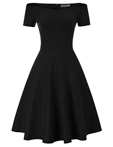 GRACE KARIN cocktailkleider partzkleider 50s Kleider Damen Vintage Kleid Weihnachten schwarz Kleid CL020-1 S