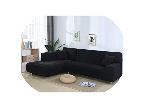 Solid Color Elastic Sofa Cover for L Shaped Sectional Corner Chaise Longue Sofa Stretch Couch Cover Slipcovers for Living Room,Black,45-45cm Pillowcase-2