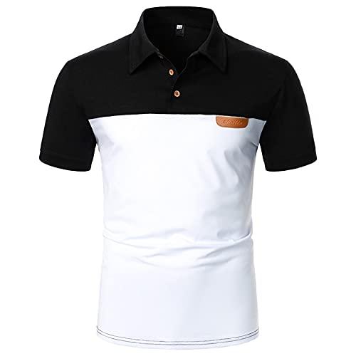 Polo para hombre, camisa de negocios, camisa de manga corta, cuello redondo, corte ajustado, elástico, monocolor, para verano, deporte, tenis, golf, cuello en V Blanco_7 XL