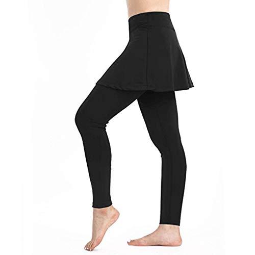 Sunenjoy Jupette Legging Femme Sport Legging de Compression Convient pour Tennis, Yoga, Pilates, l'entraînement et Course à Pied Pantalon Grande Taille S-XL (XL, Noir)
