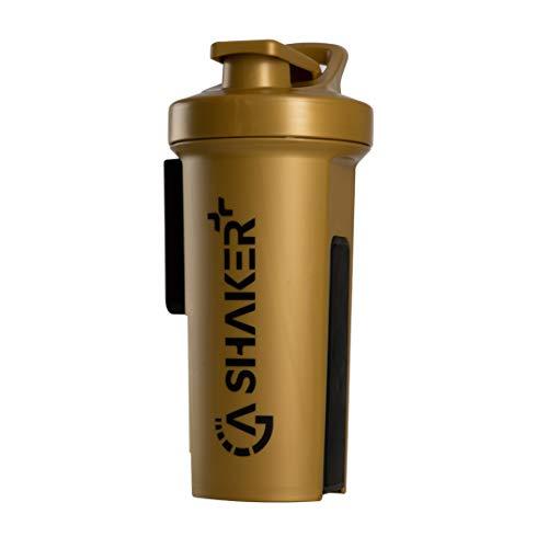 GA Shaker+® 2.0 Das Original Trinkflasche/Wasserflasche mit Protein Shaker Funktion, 1L(Gold)