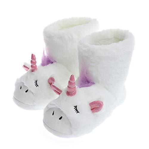 Unicorn Slippers   Zapatillas de Estar en casa para Interiores y Exteriores   Zapatillas de Felpa para Mujer   Pantuflas mullidas y Bonitas para niñas, Color Blanco, Talla 38/39 EU