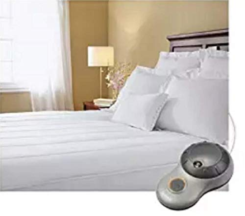 Sunbeam Thermofine Quilted Striped Heated Electric Mattress Pad Twin Size