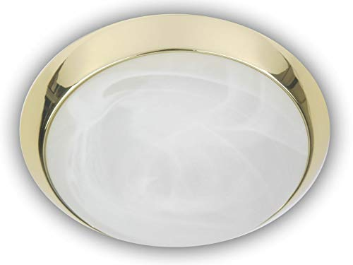 Plafonnier à LED Bol rond Ø 25 cm, verre albâtre avec un Bague décorative de plafond dans laiton poli, Belle lampe Vestibule LED avec fermeture à baïonnette