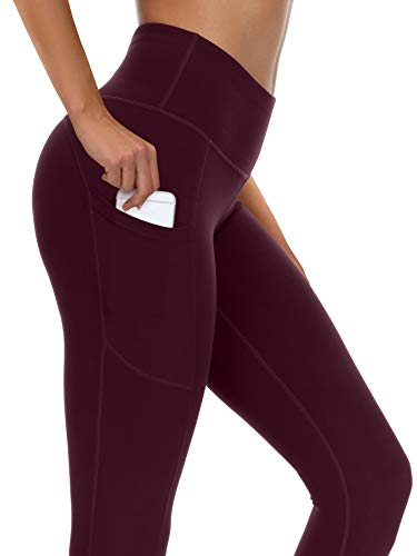 syoss Yoga Pants for Women with Pockets High Waisted Leggings with Pockets for Women Workout Leggings for Women L, Wine Red