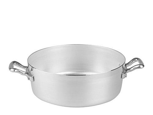 Pentole Agnelli AGNELLI Casseruola Alluminio Bassa Family 2 Manici cm36 Pentole Cucina, Acciaio Inossidabile, 36 cm