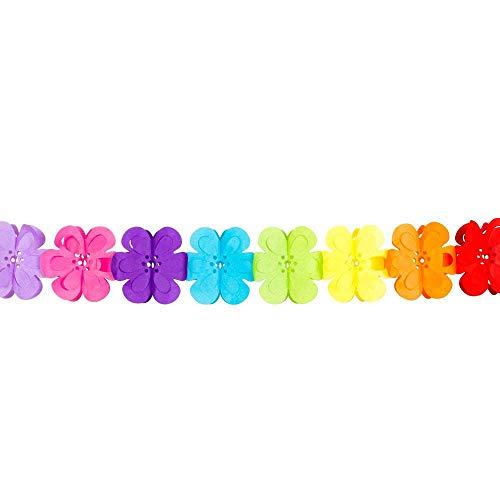 Boland 30623 - Dekorationsgirlande Flower Power, 1 Stück, Länge 400 cm, Blumengirlande, Bunt, Mehrfarbig, Regenbogen, Papiergirlande, Hängedekoration, Girlande, Mottoparty, Karneval, Geburtstag