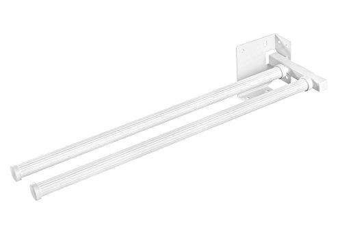GedoTec® handdoekhouder, uittrekbaar, wit, model HAILO | uittrekbare handdoekenrek 2-armig | lengte: 430 mm | handdoekstang 3142-90 voor keuken en badkamer | merkkwaliteit voor je woonkamer 2-armig Kunststoff Weiß