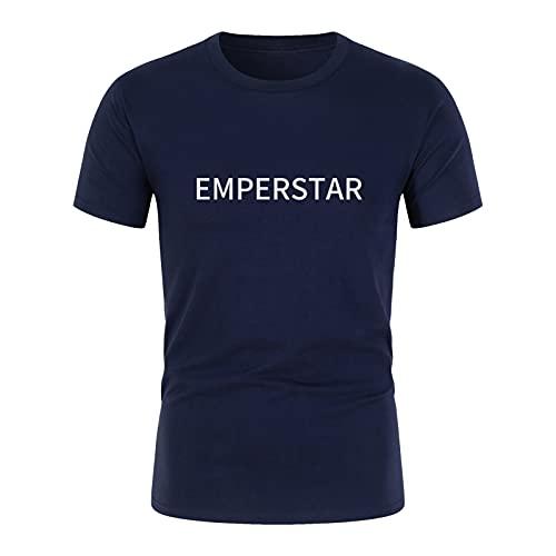 Camisa Hombre Letra Pullover Manga Corta Juventud Hombre Mujer Camiseta Azul Marino XXL