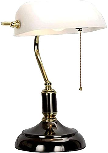 Lámpara de mesa vintage con interruptor de tiro Lámpara de banqueros Lámpara de lectura giratoria de lavado de vidrio Lámpara de escritorio Lámpara de noche E27-blanco