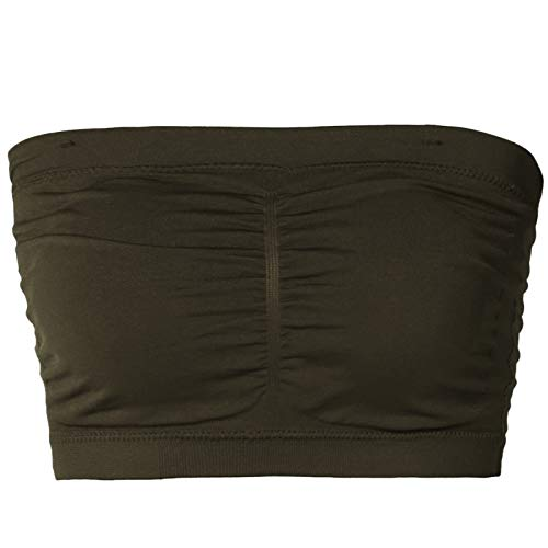 TheMogan Junior's Seamless Removable Pad Bandeau Layering Bra Top Olive 1X/2X