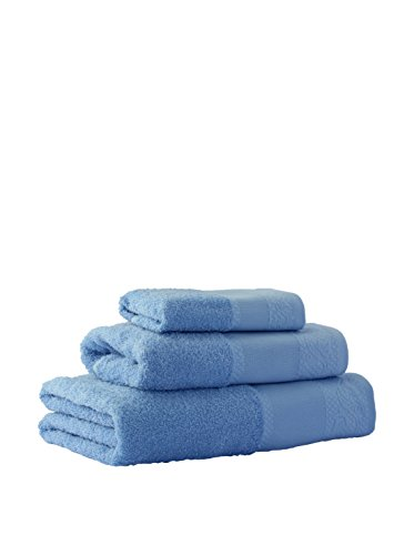 Flor de Algodón Panama Juego de 3 toallas algodón, AZUL, 30x50, 50x90, 100x140, 3