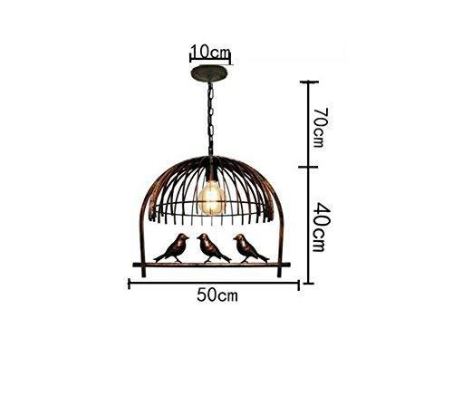 ZHYZN Voliere Glanz, Anhänger Retro Birdie Lounge Esszimmer Hotel Schreibtisch Lichter Metall Balkon Glanz Shop Dekoration Einfache Kopf E27, 50 * 50 * 40 cm,50 * 40 cm