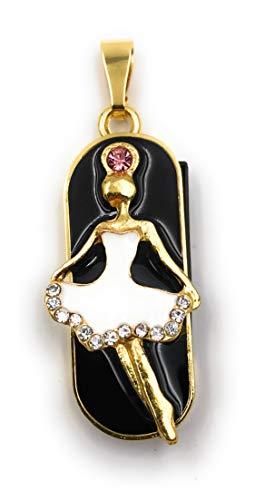 Onlineworld2013 Ballerina danseres hanger goud zwart glitter strass funny USB-stick diverse maten 8 GB USB 2.0