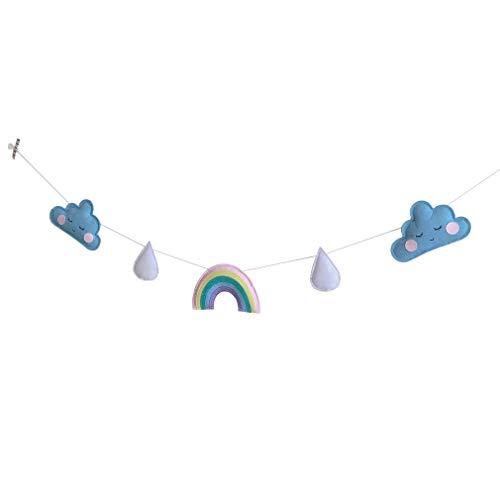CUTOOP - 1 pieza de tela de fieltro de estilo nórdico con forma de nube arcoíris para colgar en la pared de la habitación de los niños, tienda de campaña, decoración para la pared, aprox. 1,5 m, azul
