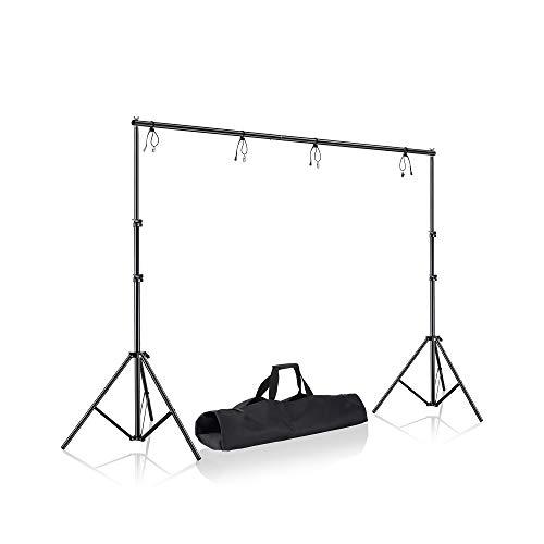 WISD 2x2M Supporti Per Sfondi Stativo con 6 Pezzi Nero Clip Fondale Sfondo per Fondali Video e Fotografico