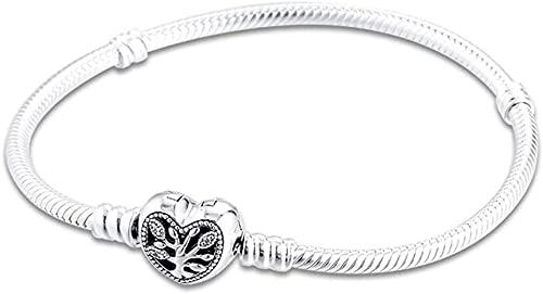 Pulsera de la cadena de la familia del corazón del regalo de la familia del día de la madre para las mujeres 925 Plata DIY se adapta a las pulseras originales de Pandora Charm Joyería de moda-18 CM