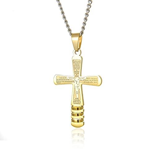 Collares con Colgante De Cruz Dorada, Collar De Acero Inoxidable con Biblia De Jesús para Hombres, Joyería Masculina Religiosa para Niños