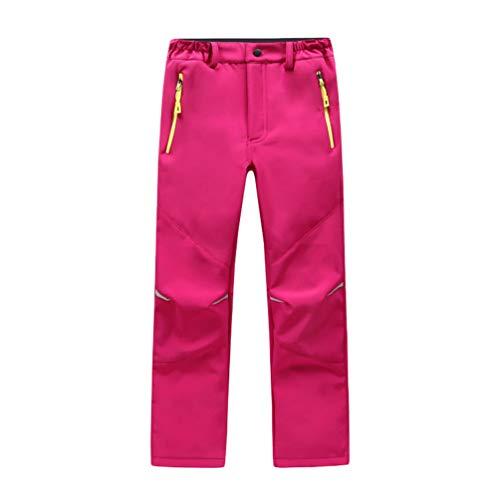 Yuanu Pantalones Montaña Impermeable Niño Niña Forro Polar Pantalón Al Aire Libre Excursionismo Movimiento Esquí Respirable Espesar Invierno Calentar Bolsillo con Cremallera Pantalones Rojo S