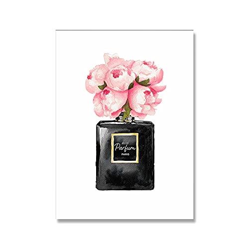 H/A Cartel Flor Botella De Perfume Mujer Lápiz Labial Lienzo Coco Impresión Mural Arte De La Pared Imagen Chica Dormitorio Decoración del Hogar D83 50X70Cm