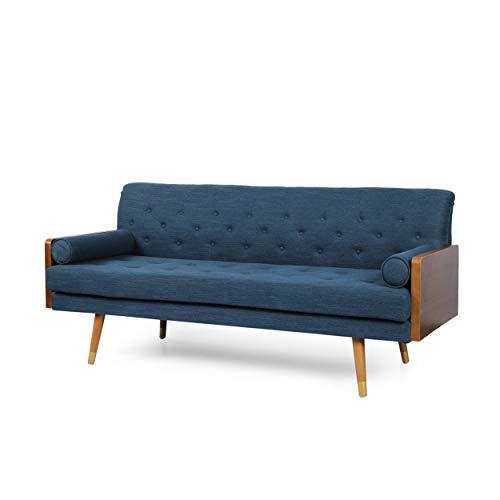 Aidan Mid-Century Modern Tufted Fabric Sofa, Navy Blue and Dark Walnut