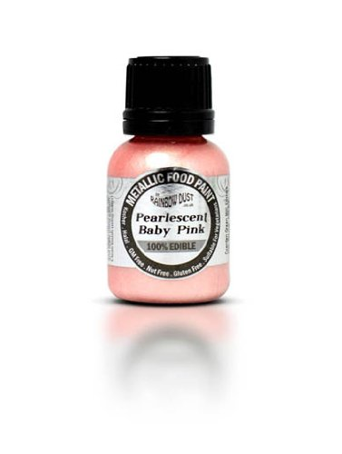 Ready-to-use Metallic Pearlescent Baby Pink 100% Edible Food Paint for Cake and Icing Decoration by Rainbow Dust