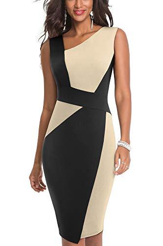HOMEYEE Damen Vintage Ärmelloses Business Kleid aus Stretch mit Kontrastfarbe B517 (EU 42 = Size XL, Aprikose + Schwarz)