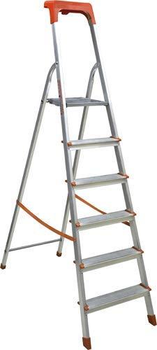 Scala Domestica in Alluminio Pieghevole Leggera Antiscivolo con Portaoggetti e Gancio Porta Secchio Scaletta Multifunzione (7 Gradini)