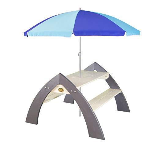 AXI Kylo XL Picknicktisch für Kinder aus Holz | Kindertisch mit Sonnenschirm für den Garten in Grau & Weiß