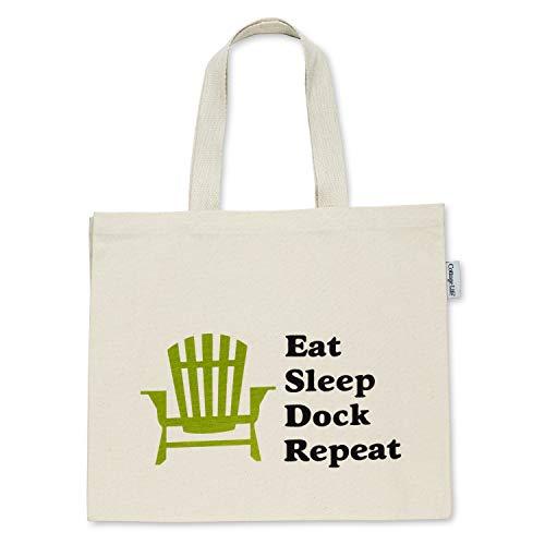 Abbott Collection 1256-TBL-05 EatSleepDock XLTote Bag-Bolsa de Tela (40,6 x 45,7 cm), Marfil/Negro/Verde