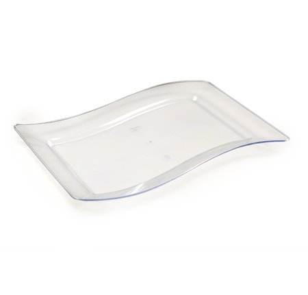Wavettrends 10er Pack - Elegante Hartplastik gewellte rechteckige Platten / Schalen / große Platten - 25,4 x 34,3 cm (25 x 35 cm), transparent farblos