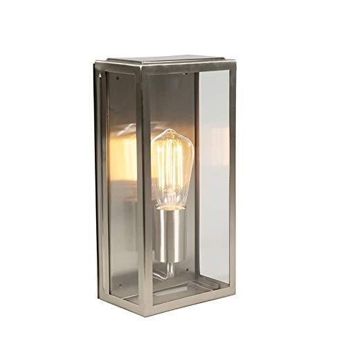 QAZQA Moderne rechthoekige buitenwandlamp staal IP44 - Rotterdam 1 Glas/Roestvrij staal (RVS) Rechthoekig Geschikt voor LED Max. 1 x 60 Watt