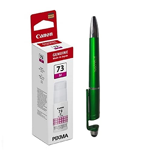 Canon 73 Magenta Ink Bottles Bundle with ITGLOBAL (TM) Brand 3 in 1 Multi-Function Anti-Metal Texture Rotating Ballpoint Pen, Creative Mobile Phone Stand, Stylus Pen (Very Colour) Gi 73