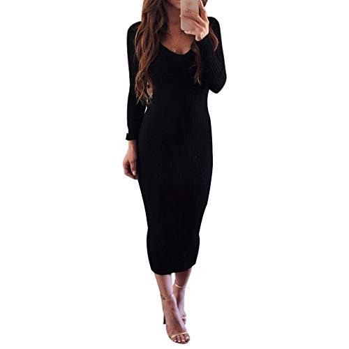 Bodycon Kleid für Damen - Mode Einfarbig Slim Fit A-Linie Strickkleider Frauen Lange Ärmel Gestrickte Kleider Bleistift-Kleid Kleidung Strassenmode S-XL