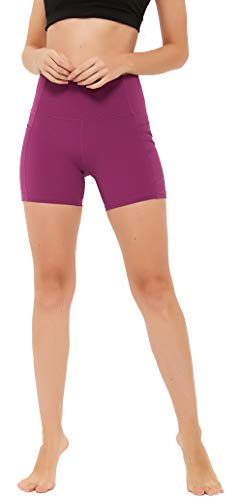 """N-A Women's Yoga Shorts High Waist Workou Running Compression Exercise Shorts Side Pockets 8"""" S Coral"""
