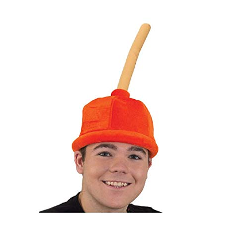 Jacobson Plunger Hat Plush Orange Velveteen Teen Adult