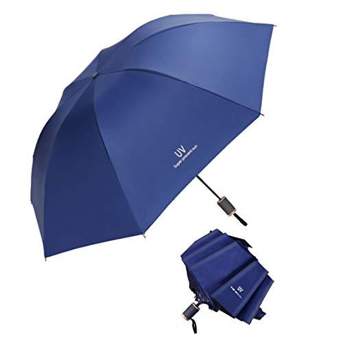 Tinyuet 38 Inch Ombrello pieghevole, 8 scheletri di ombrelli, Ombrello in vinile anti-uv, Può essere usato nei giorni di sole e nei giorni di pioggia - blu