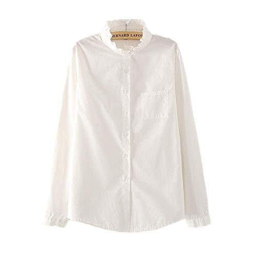 NOBRAND - Camiseta de manga larga para mujer con cuello de volante, color blanco