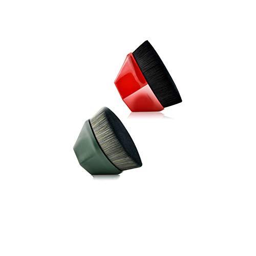 YUIP 2 Pcs Pennello per Fondotinta Magico Pennello per Trucco per Fondotinta a Forma di Petalo Adatto per Miscelare Liquidi per Trucco Creme e Correttori (Rosso e Verde)
