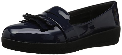 FitFlop Women's FRINGEY Sneakerloafer Shoes in Patent Loafer Midnight Navy 9 M US
