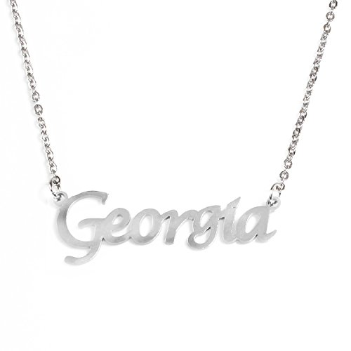 Kigu Georgia Personalized Name - Silver Tone Necklace - Adjustable Chain 16' - 19' Packaging