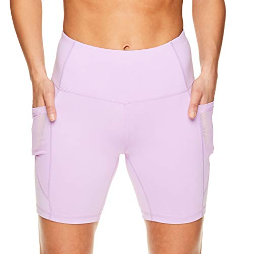 Reebok Women's Compression Running Shorts - High Waisted Performance Gym Yoga & Workout Bike Short - 7 Inch Inseam - Purple Rose Trainer High Rise, Small