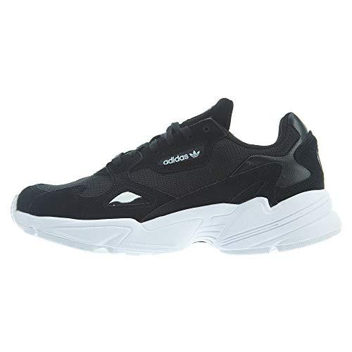 adidas Originals Women's Falcon Sneaker, Black/Black/White, 9.5 M US